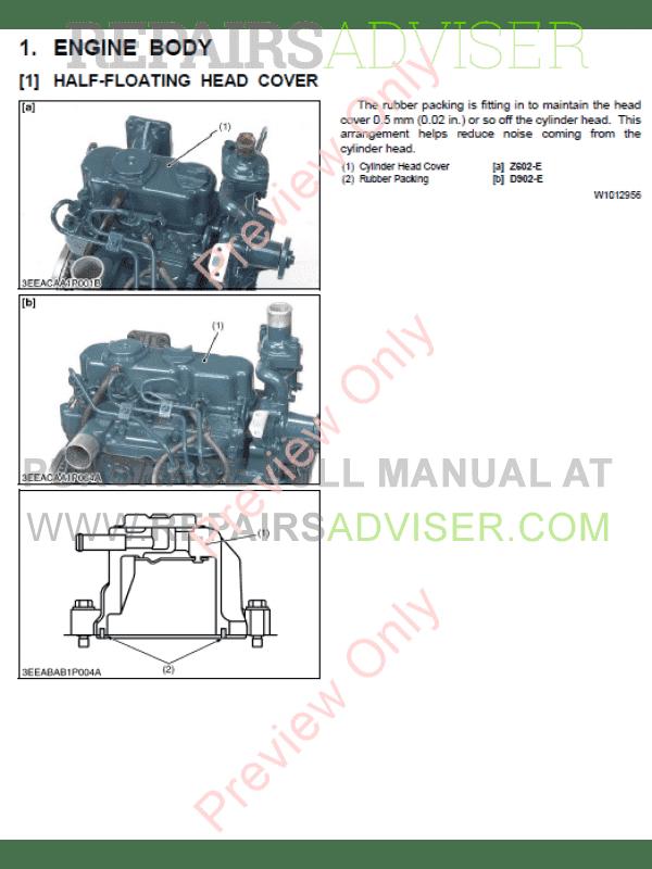 Kubota Z602-E, D902-E Diesel Engines Workshop Manual 9Y011