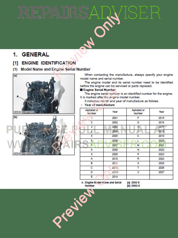 Kubota Z602-E, D902-E sel Engines Workshop Manual 9Y011 ... on