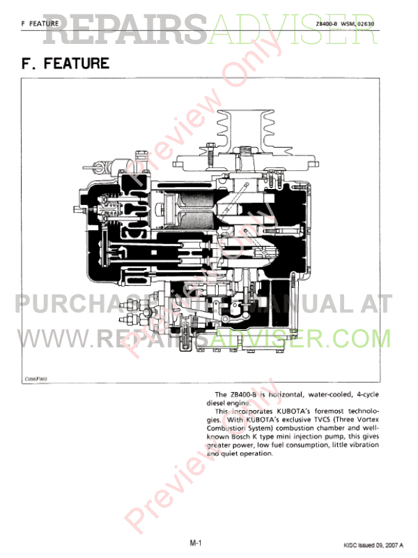 Kubota Kubota Engine Zb400 Service Manual