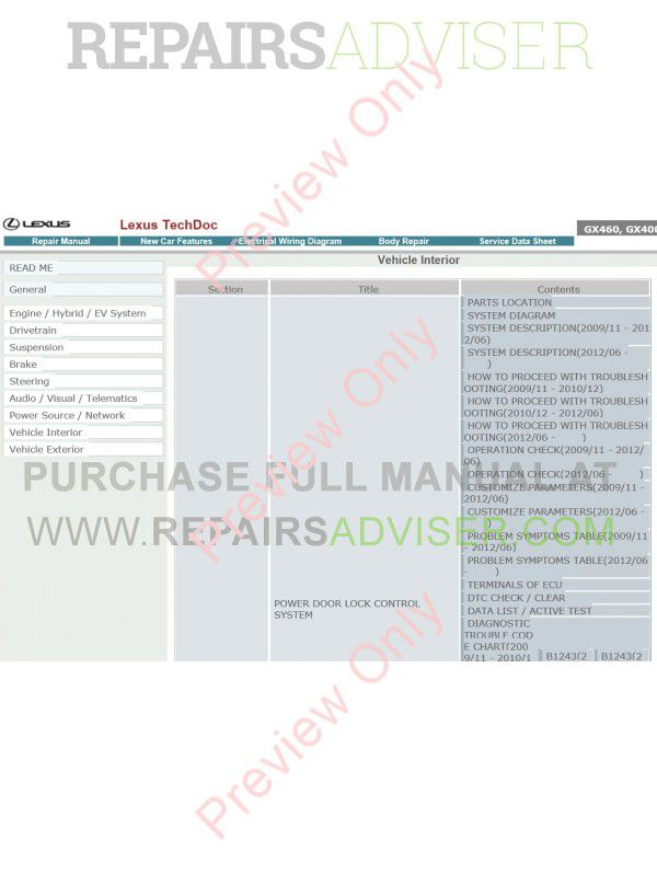Lexus GX460 / GX400 Repair Manual Download