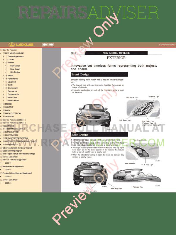 lexus sc430 pdf manual, manuals for cars by www repairsadviser com