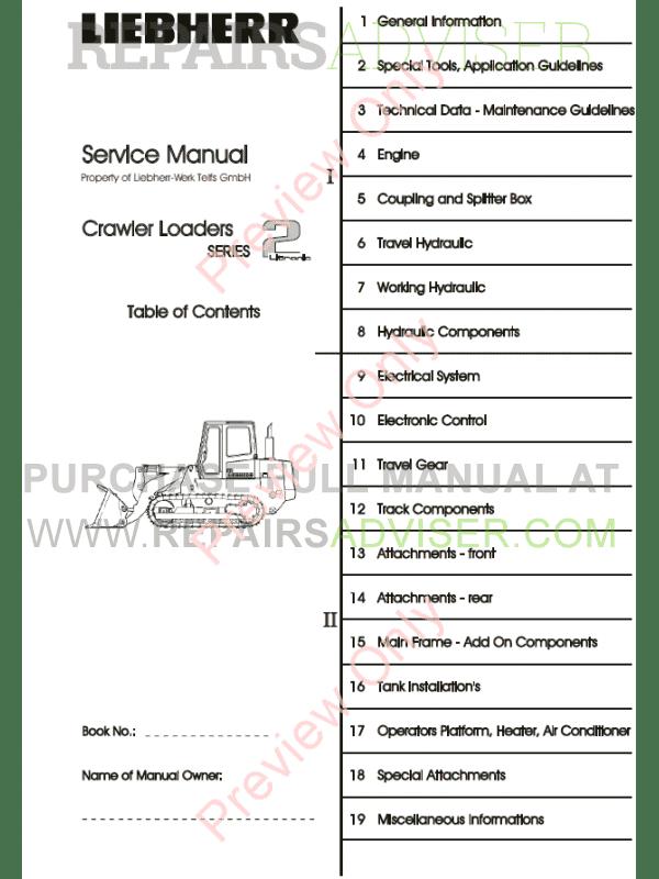 Liebherr LR 622-632 Crawler Loaders PDF Service Manual Download
