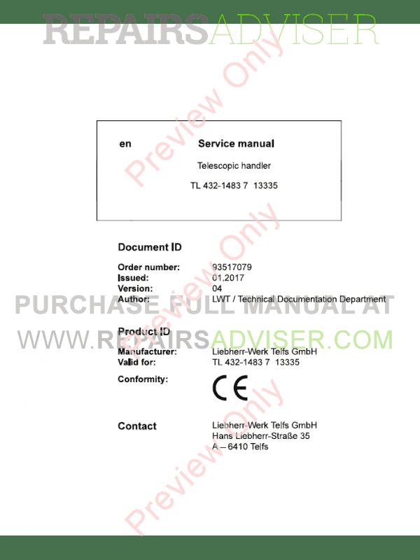 Liebherr TL432-1483 7 Telescopic Handler Service Manual PDF