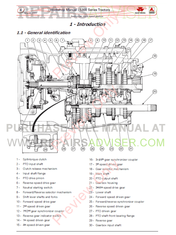 Massey Ferguson MF 5300 Series Tractors Workshop Manual PDF
