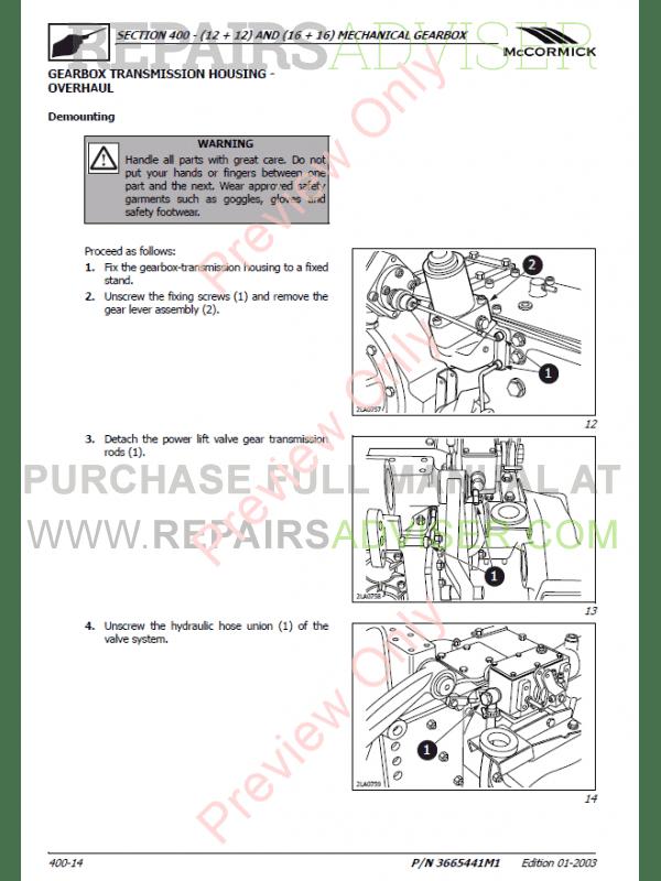 McCormick GX40-45-50 Tractors Service, Training Manual PDF Download