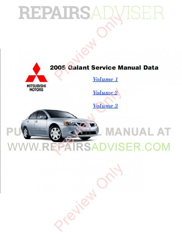 2005 Galant Owners Manual