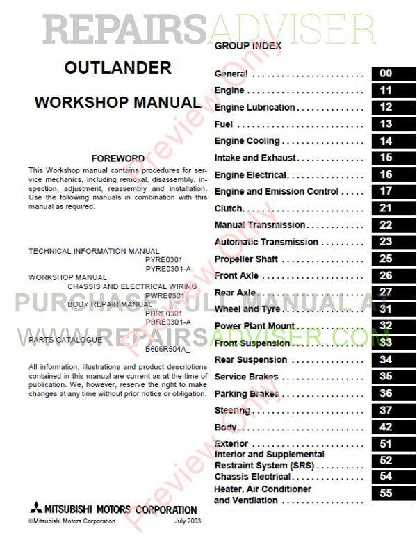service manual  2004 mitsubishi outlander workshop manual