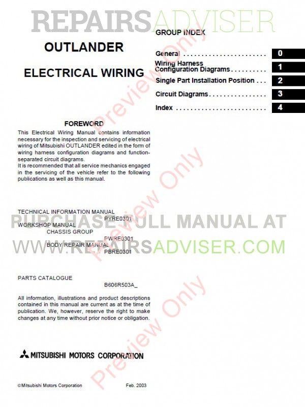 mitsubishi outlander 2003-2006 workshop manual pdf, manuals for cars by  www repairsadviser