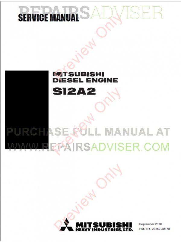 Mitsubishi S12A2 Diesel Engine Service Manual PDF