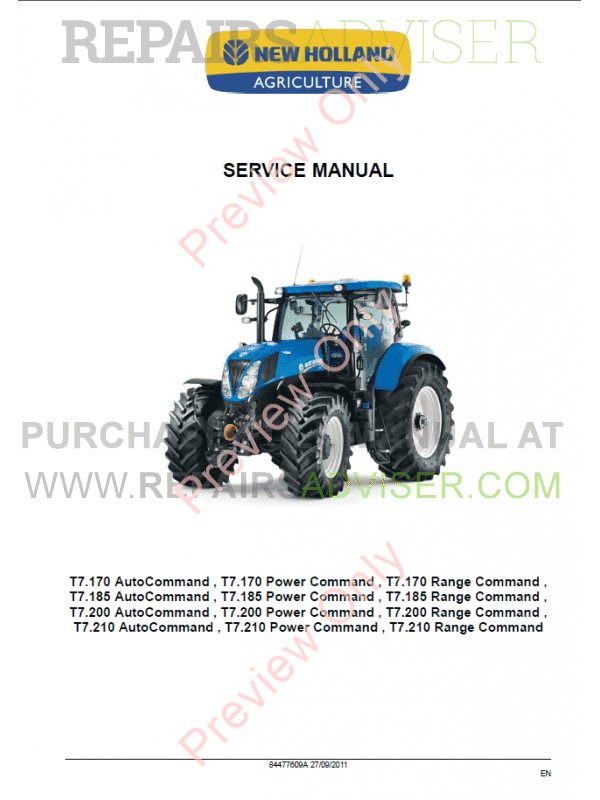 New Holland Tractor Manuals : New holland t series tractors service manual pdf download