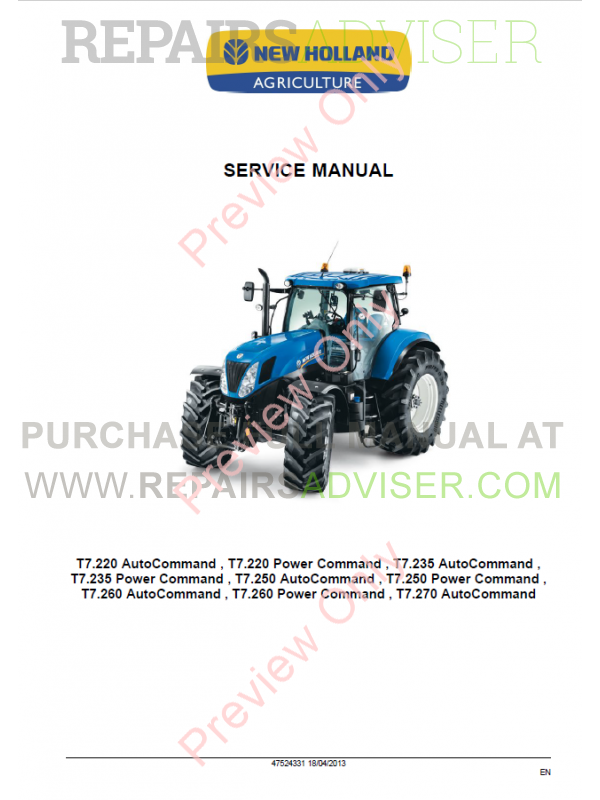 New Holland T7 220, T7 235, T7 250, T7 270 Tractor Service