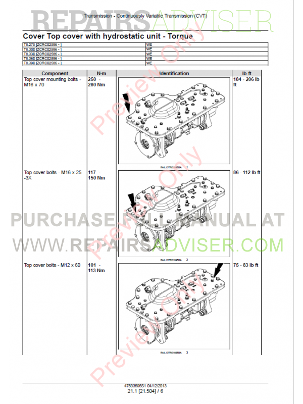 New Holland T8 275, T8 300, T8 420 (CVT) Tractor Service