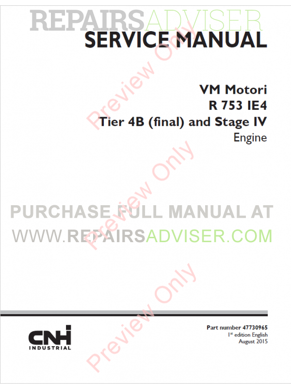 New Holland VM Motori R 753 IE4 Stage IV Engine Service Manual
