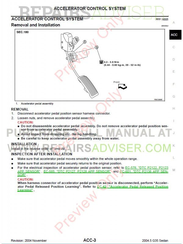 Nissan Infiniti G35 Sedan Service Manual, Manuals for Cars by www ...