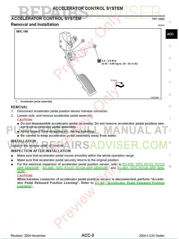 Nissan Infiniti G35 Sedan Service Manual, Manuals for Cars by www ...