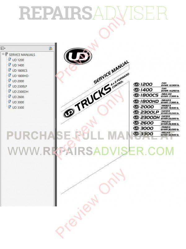 Nissan Trucks UD 1200 1400 1800/CS/HD 2000 2300/LP/DH 2600 ...