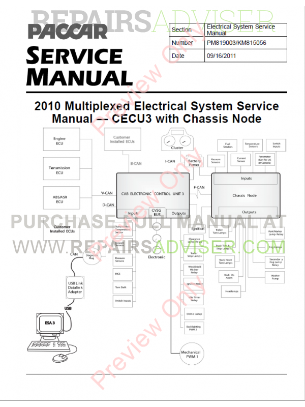 Paccar Multiplexed Electrical System Set of Service Manuals