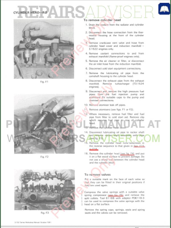 Perkins 3 152, D3 152,3 1522,3 1524, 3HD46 Engines Workshop Manual