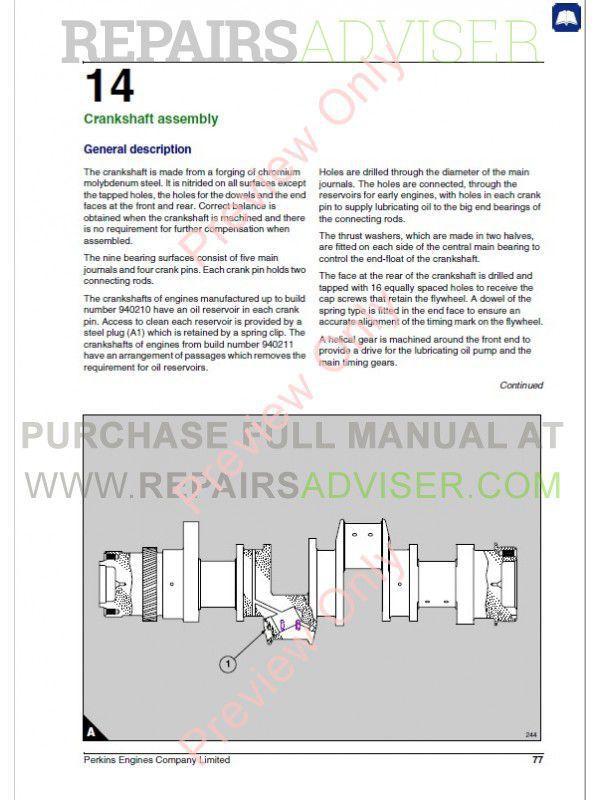 Perkins 3008/CV8 Diesel Engines Workshop Manual PDF Download