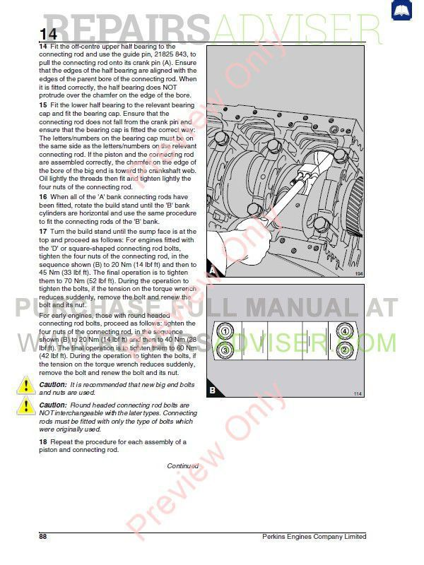 Perkins 3008/CV8 Diesel Engines Workshop Manual PDF Download