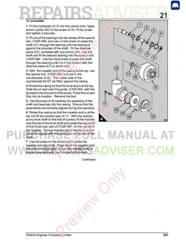Perkins 3012/CV12 Diesel Engine Workshop Manual PDF Download