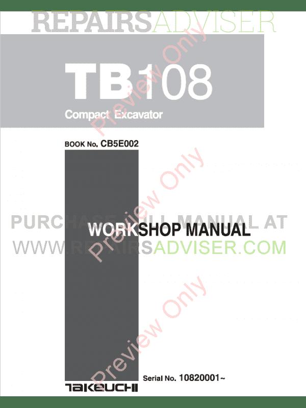 Takeuchi TB108 Compact Excavator Workshop Manual PDF Download