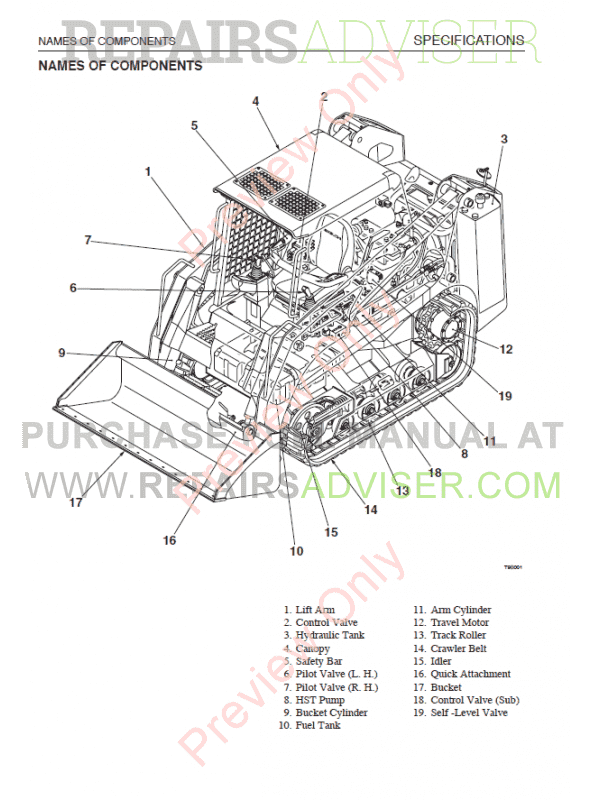 takeuchi tl220 crawler loader parts manual download on
