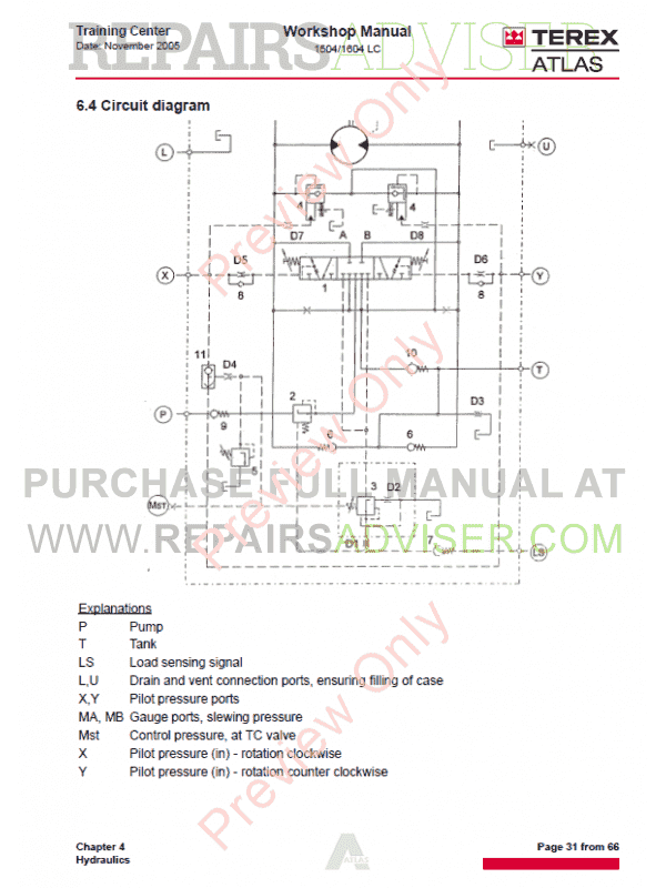 Terex Atlas 1504  1604 Lc Excavators Workshop Manual Pdf