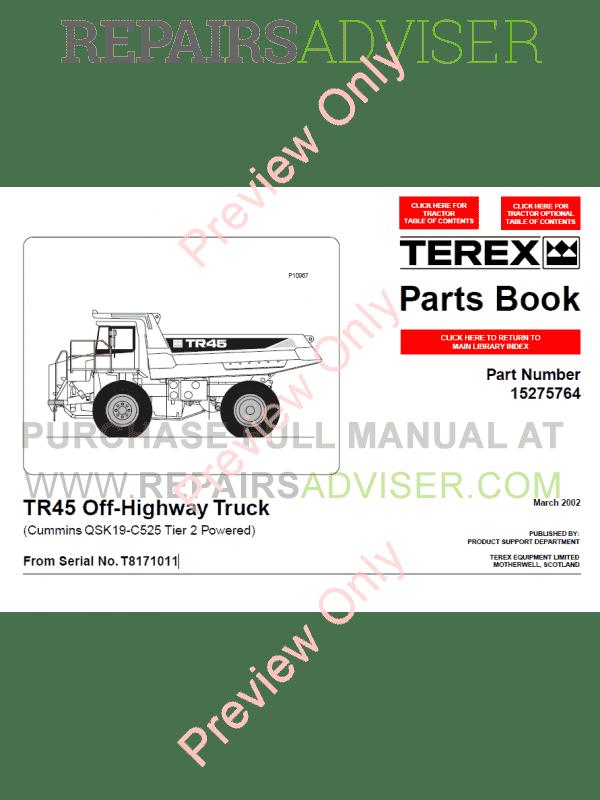 terex tr45 off highway truck parts book pdf download