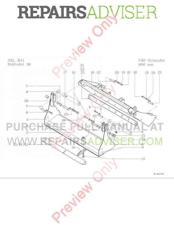 Terex Skl 841  841 Serie B Wheel Loader Parts Catalog
