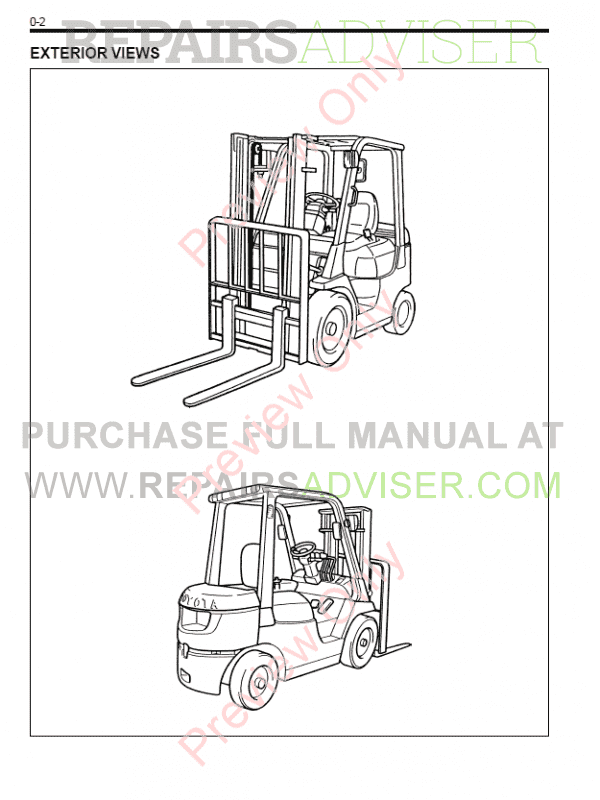 Toyota Forklifts 7FDF/ FGF 15-35 Service Manual PDF Download