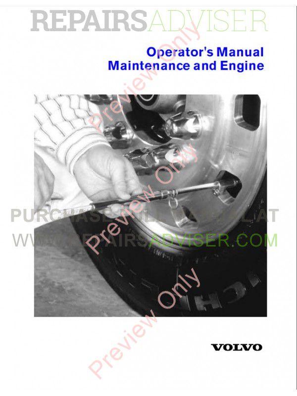Volvo Truck Operator's Manual Maintenance and Engine PDF