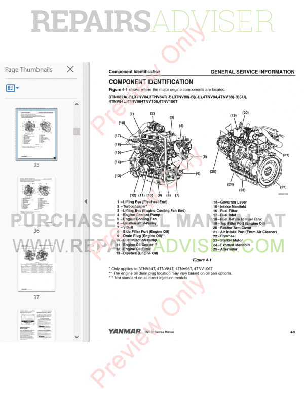 Yanmar Industrial Engines 3TNV and 4TNV Series PDF Service