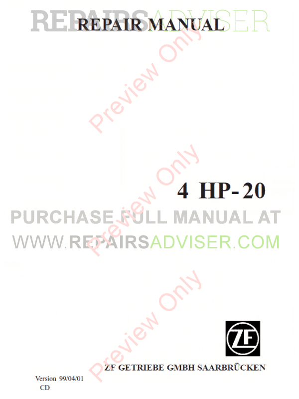 ZF 4HP-20 Transmission Repair Manual PDF