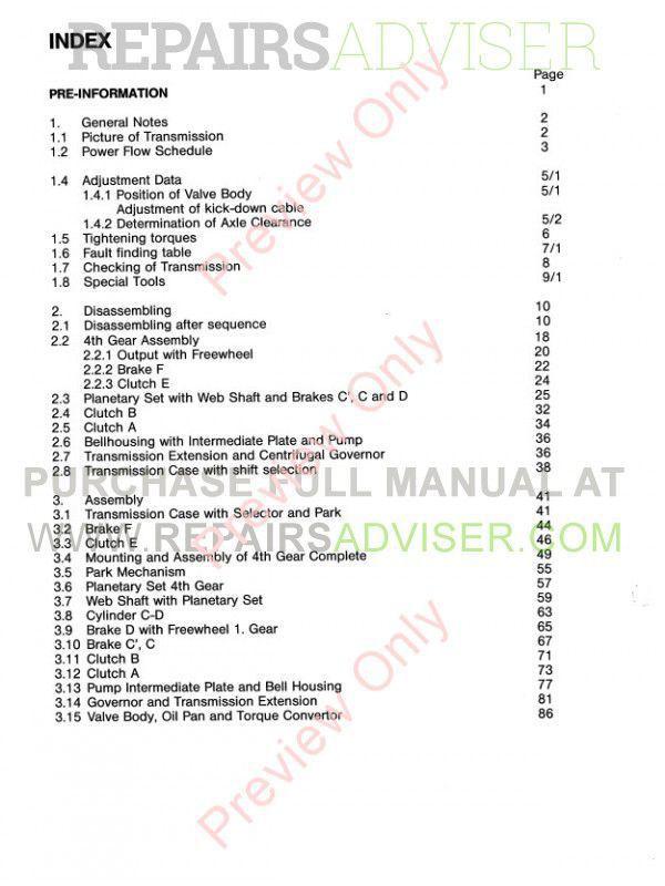 Transmission zf 6hp28 Repair Manual