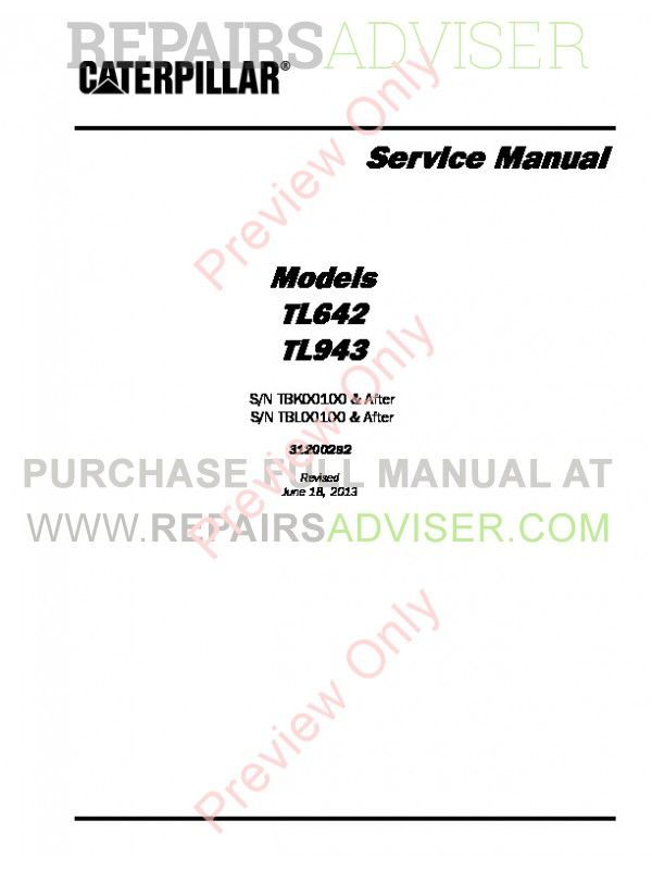 Caterpillar TL642 & TL943 Service Manual PDF image #1