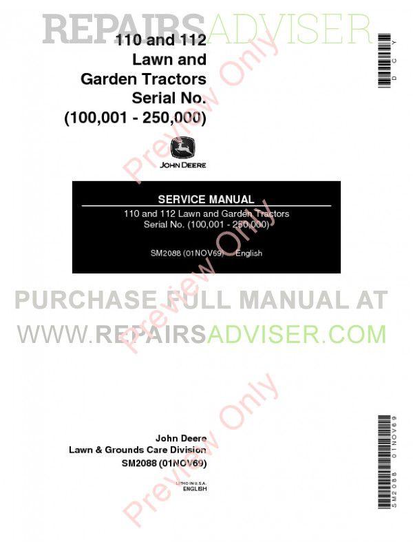 John Deere 110 & 112 Lawn Garden Tractors SM-2088 Service Manual PDF image #1