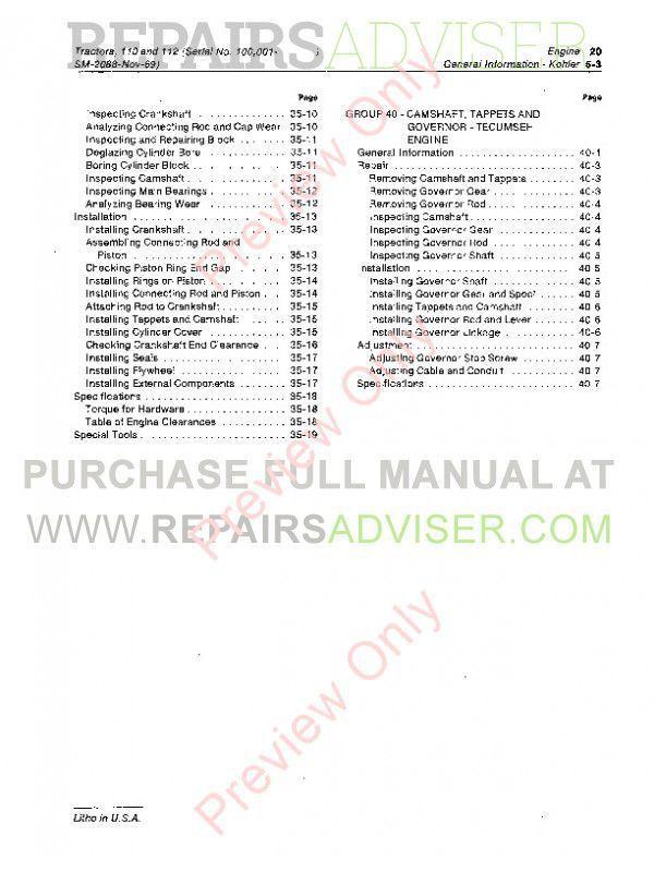 John Deere 110 & 112 Lawn Garden Tractors SM-2088 Service Manual PDF, John Deere Manuals by www.repairsadviser.com