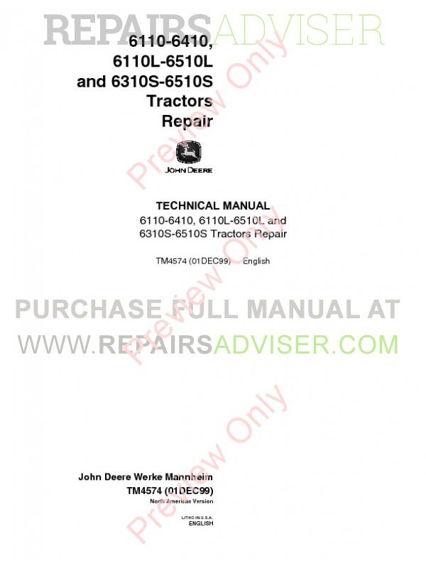 John Deere 6110-6410, 6110L-6510L, 6310S-6510S Tractors Repair Technical Manual TM-4574 PDF image #1
