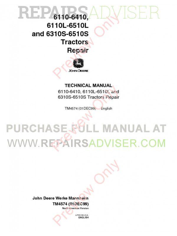 John Deere 6110-6410, 6110L-6510L, 6310S-6510S Tractors Repair Technical Manual TM-4574 PDF image #1