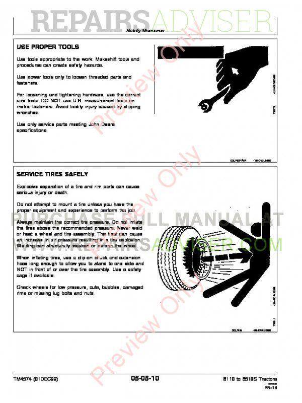 John Deere 6110-6410, 6110L-6510L and 6310S-6510S Tractors Repair Technical Manual TM-4574 PDF, John Deere Manuals by www.repairsadviser.com