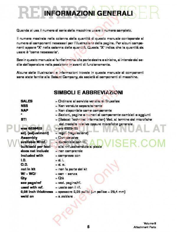 Bobcat Volume 8 Attachments Parts Manual PDF, Bobcat Manuals by www.repairsadviser.com