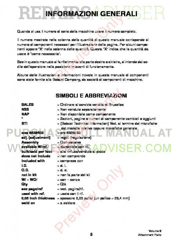 Bobcat Volume 8 Attachments Parts Manual PDF, Bobcat Manuals by www.repairsadviser.com