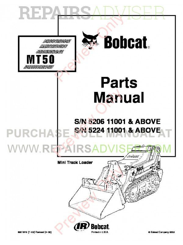 Bobcat MT50 Mini Track Loader Parts Manual PDF image #1