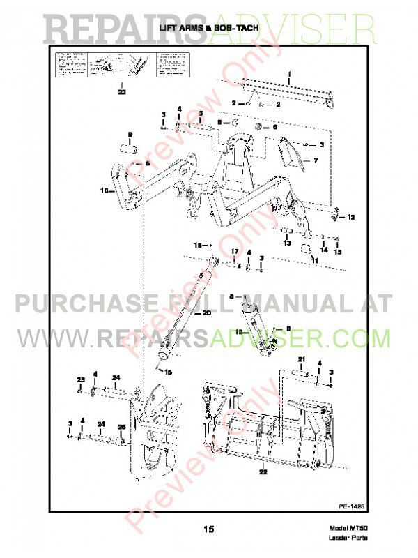 Bobcat MT50 Mini Track Loader Parts Manual PDF, Bobcat Manuals by www.repairsadviser.com