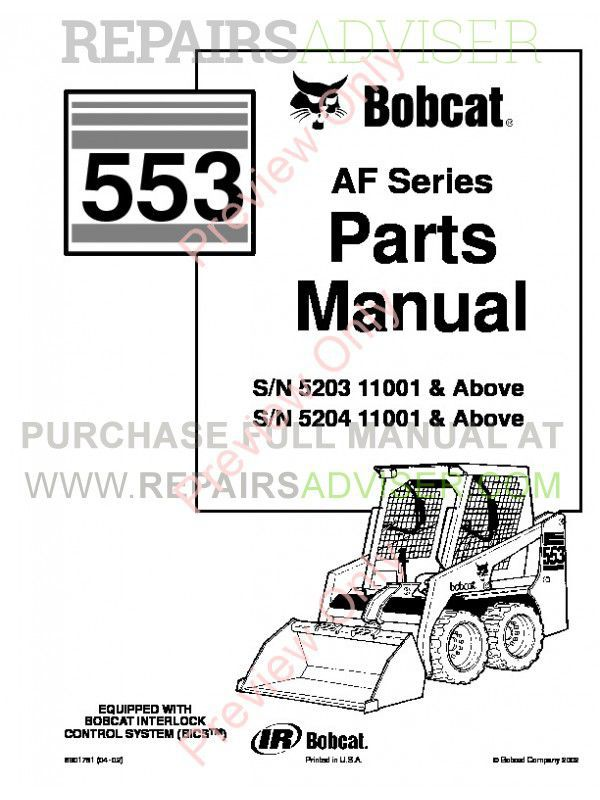 Bobcat 553 AF-Series Skid Steer Parts Manual PDF image #1