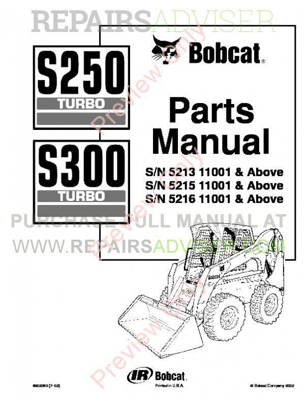 Bobcat S250 Turbo, S300 Turbo Skid Steer Loaders Parts Manual PDF image #1