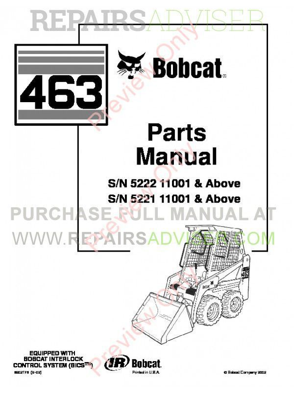 Bobcat 463 Skid Steer Loader Parts Manual PDF, Bobcat Manuals by www.repairsadviser.com