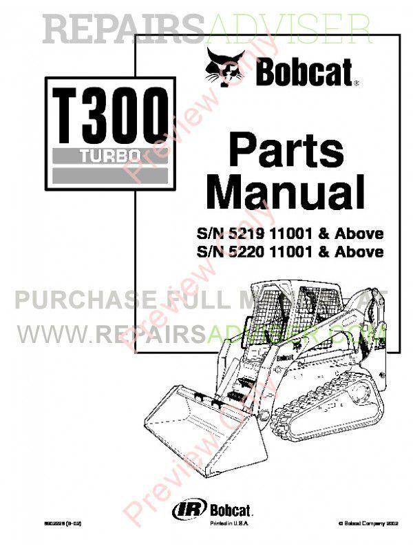 Bobcat T300 Parts Manual Pdf Download Instant
