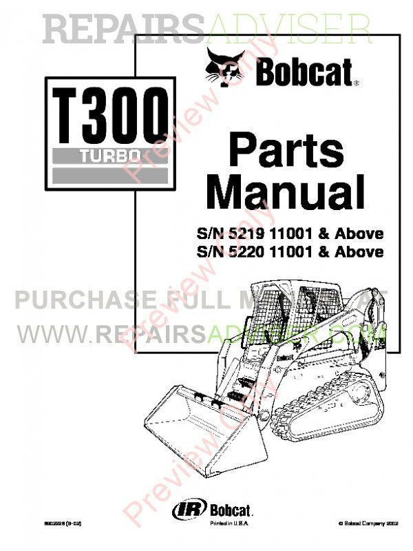 Bobcat T300 Turbo Track Loader Parts Manual PDF image #1